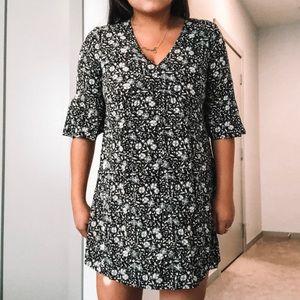 black & white floral print dress